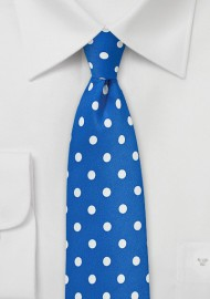 Bright Blue and White Polka Dot Tie