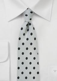 Dove Gray and Black Polka Dot Tie
