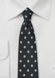 Elegant Black Tie with Silver Dots