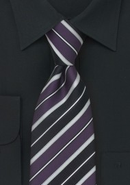 Purple and Silver Striped Kids Tie