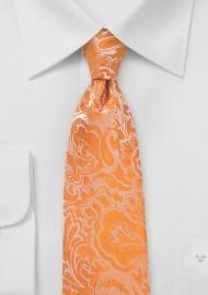 Tangelo Orange Paisley Tie in XL Length