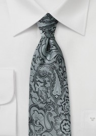 Steel Gray Paisley Tie