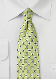 Floral Silk Tie in Linden Green