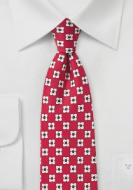 Bright Red and White Floral Silk Tie