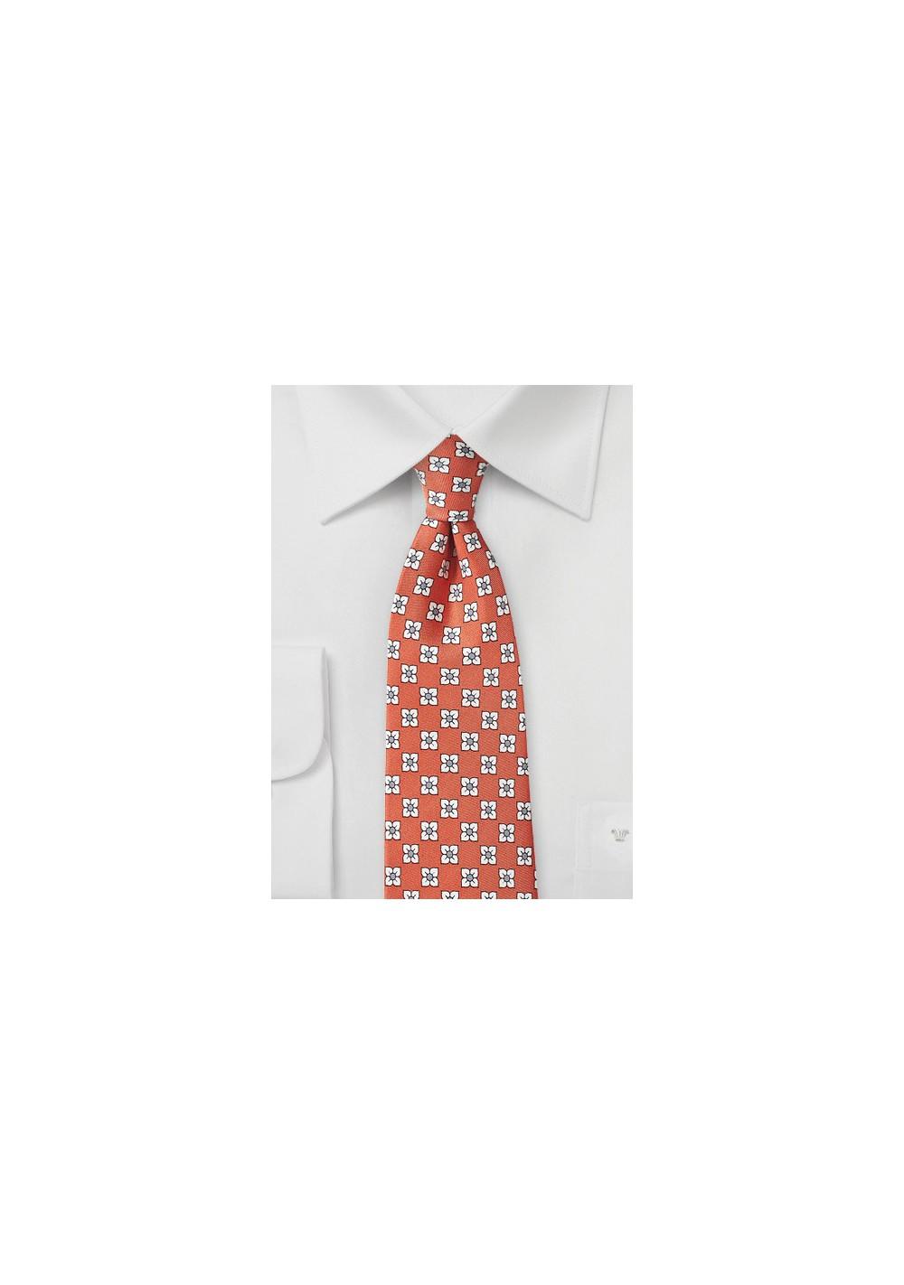 Coral Pink Floral Tie