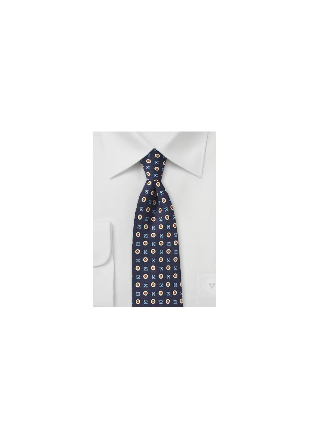 Elegant Foulard Print Tie in Blue, Orange, and Beige