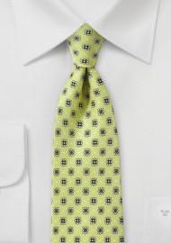 Celery Green Floral Tie