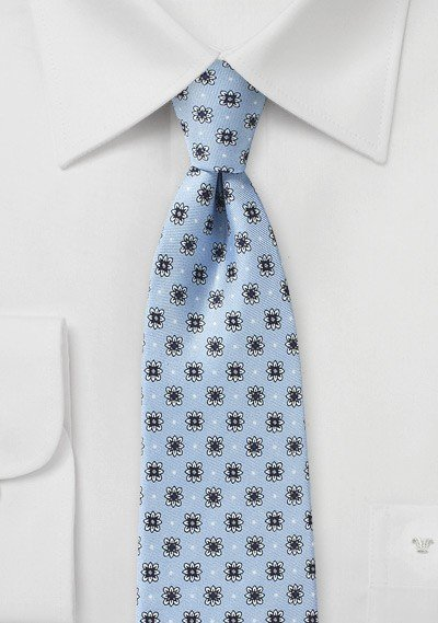 Powder Blue and Silver Floral Tie