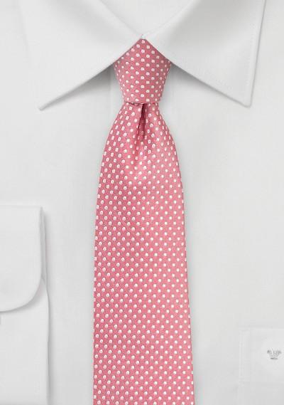 Light Coral Pink Pin Dot Tie