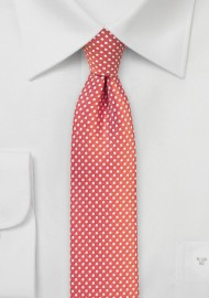 Summer Coral Pin Dot Tie