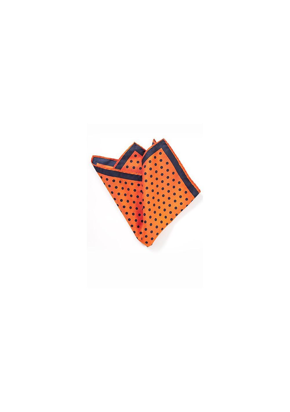 Bright Orange Polka Dot Pocket Square