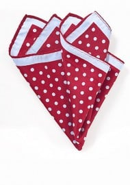 Cherry Red Pocket Square with Light Blue Dots
