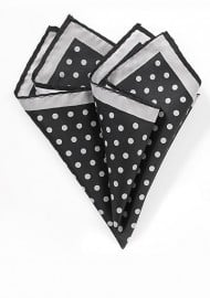Black Pocket Square with Silver Dots