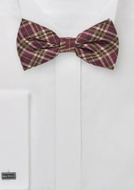 Burgundy and Lime Plaid Bow Tie