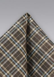 Tartan Plaid Hanky in Brown