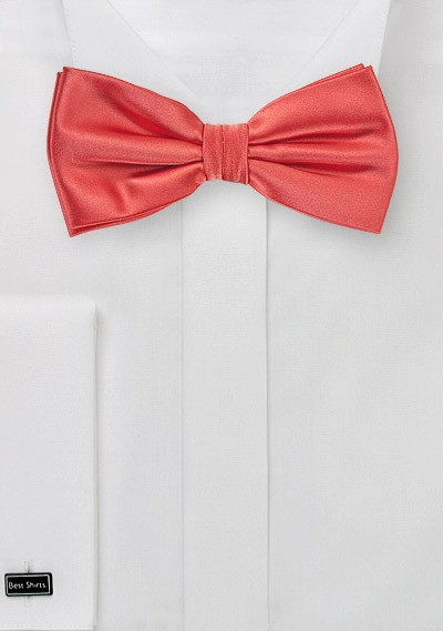 Neon Coral Bow Tie