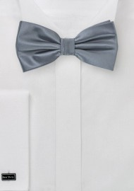 Gray Satin Bow Tie