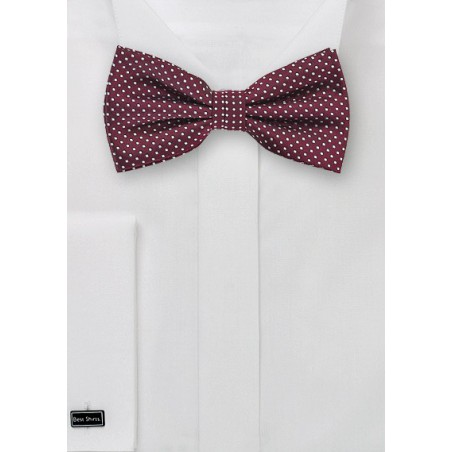 Burgundy Polka Dot Bow Tie