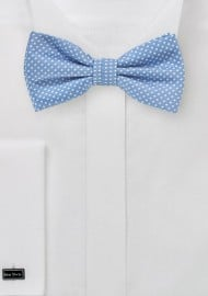 Pin Dot Bow Tie in Dusty Blue