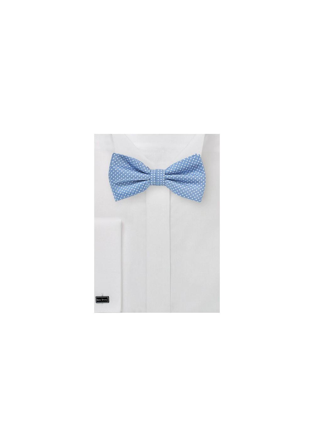 Pin Dot Bow Tie in Dusty Blue