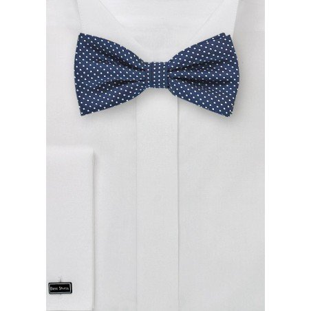 Navy Blue Bow Tie with Pin Dots