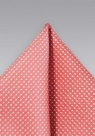 Summer Coral Pin Dot Pocket Square
