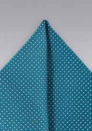 Teal Pin Dot Pocket Square