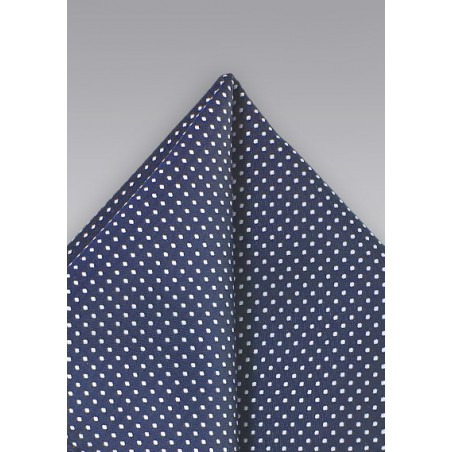 Navy Blue Pin Dot Pocket Square