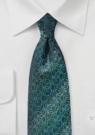 Pine Green, Blue, and Teal Circular Print Tie