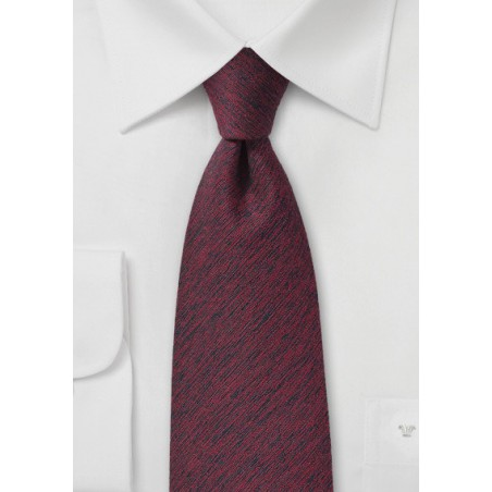 Textured Wool Tie in Wine Red
