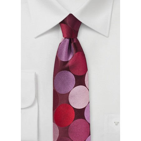 Red and Pink Tie with Large Dots
