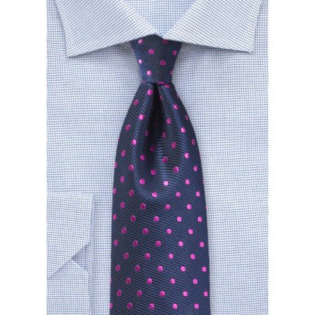 Navy Silk Tie with Magenta Polka Dots