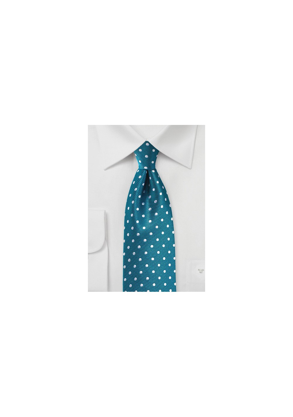 Bright Teal and Silver Polka Dot Tie