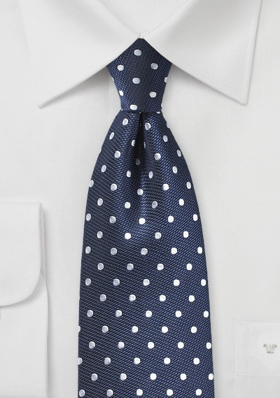 Navy Silk Tie with Silver