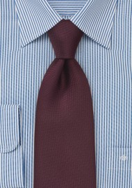 Matte Maroon Red Tie in XL Length