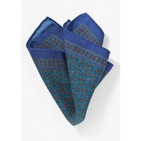Teal and Blue Paisley Pocket Square in Wool
