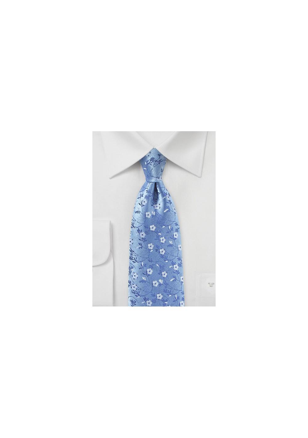 Sky Blue Floral Silk Tie