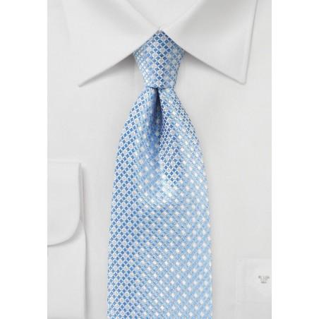 Mini Check Tie in Blue and SIlver