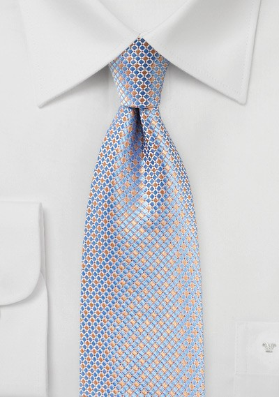 Pink and Blue Micro Check Tie