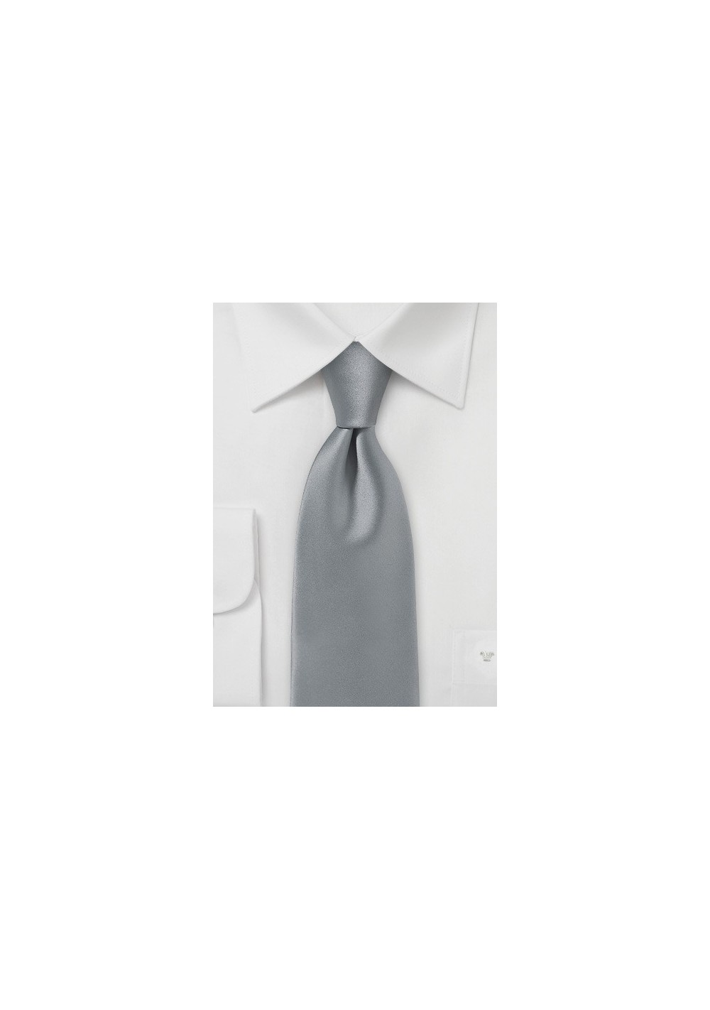 Festive Silver Mens Tie in Solid Satin
