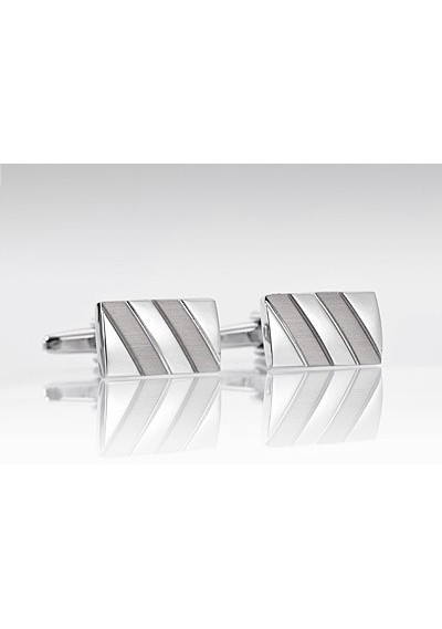 Elegant Silver Cufflinks with Striped Design