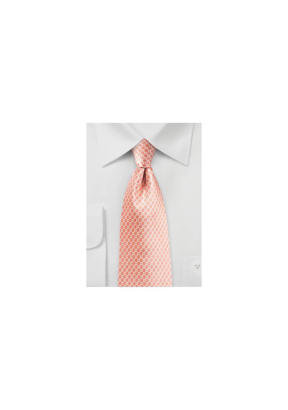 Tropical Peach Satin Silk Tie