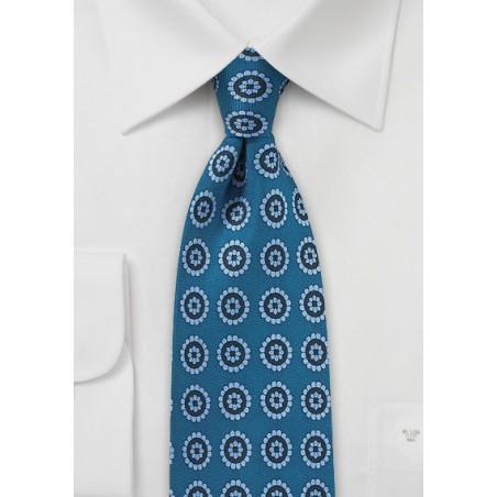Medallion Print Tie in Light Blue