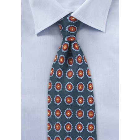 Navy Medallion Print Silk Tie