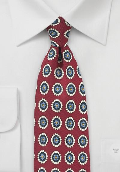Wine Red and Cream Medallion Print Tie