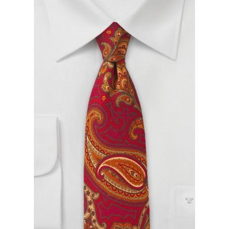 Vintage Wool Paisley Tie in Skinny Cut