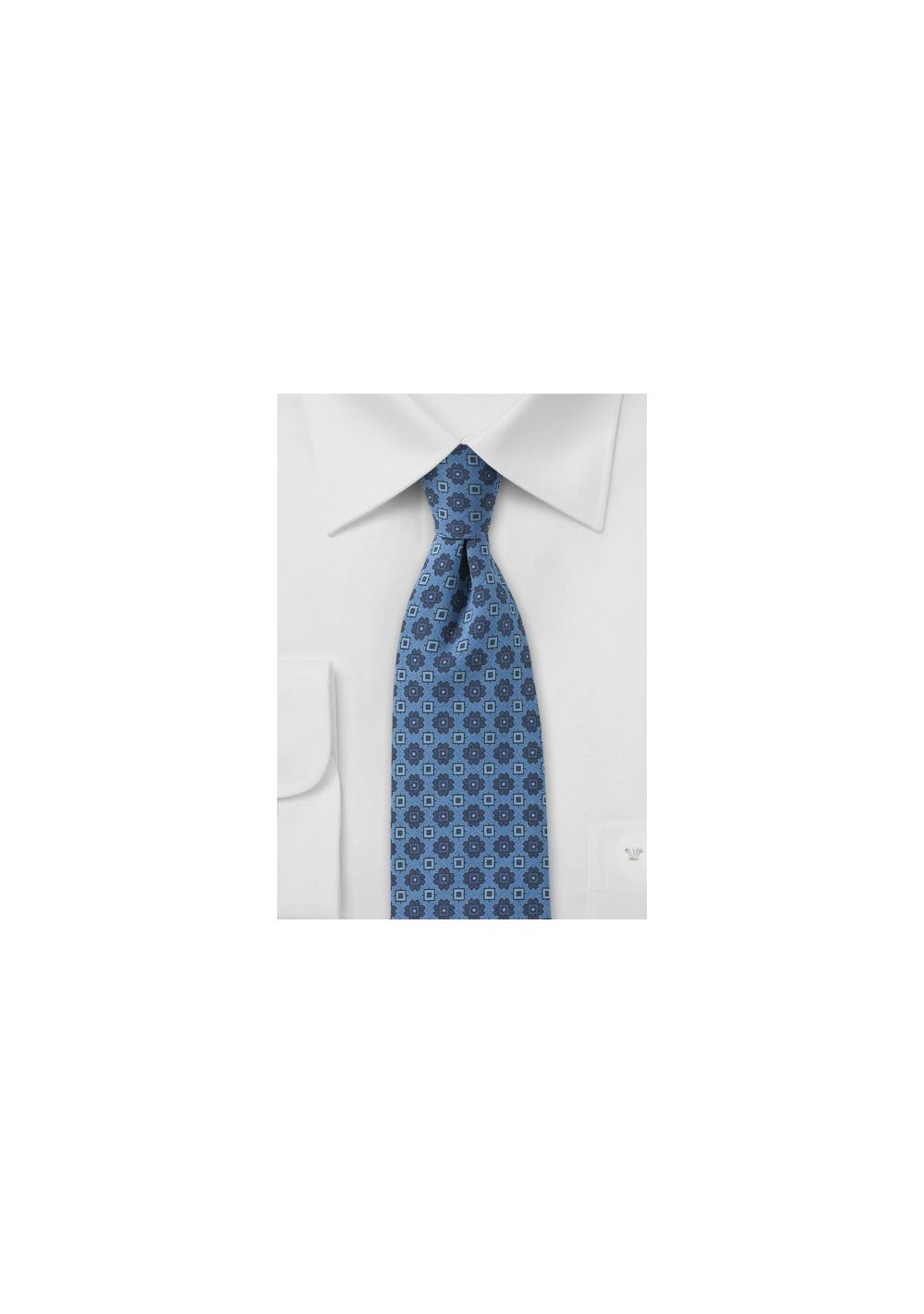 Geometric Skinny Tie in Blue Jean Color