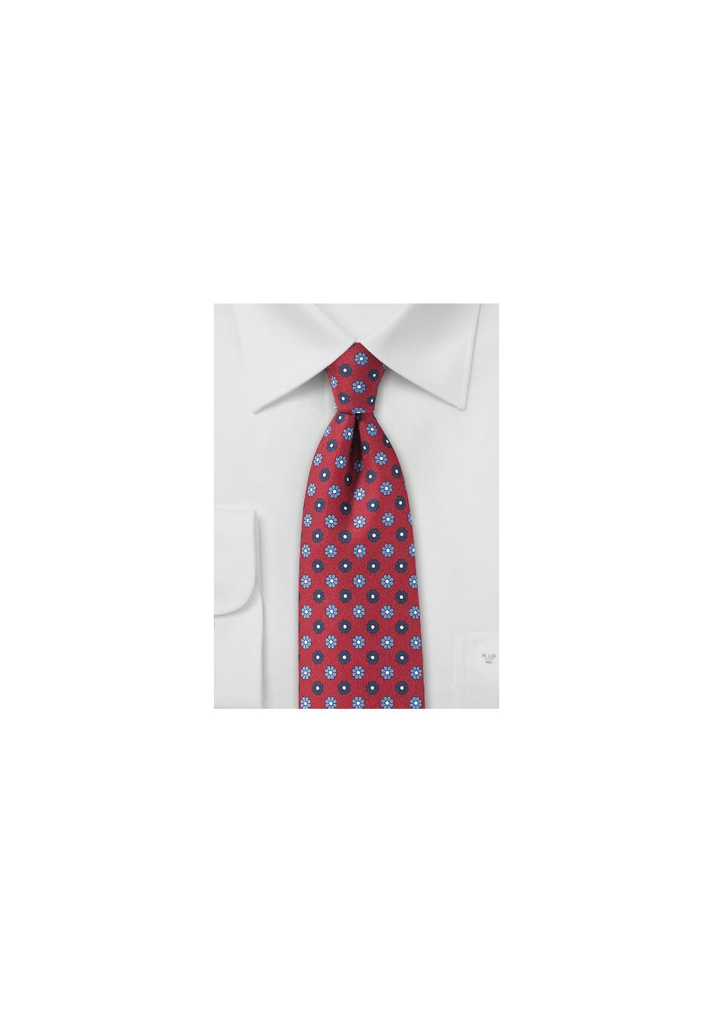 Cherry Red Floral Tie in Slim Width