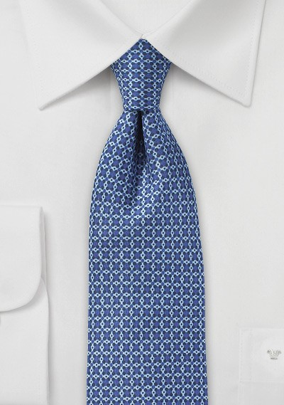 Ink Blue Graphic Print Skinny Tie