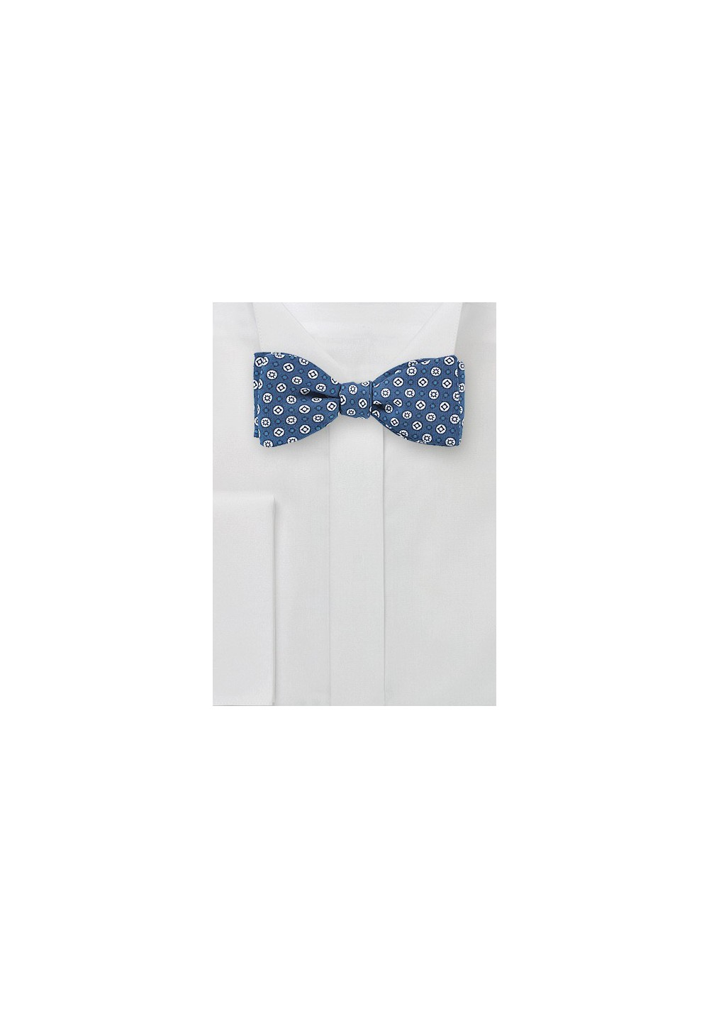 Geo Print Bow Tie in Blue and White
